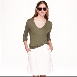 J. CREW Merino Wool V Neck Sweater Olive Green M45